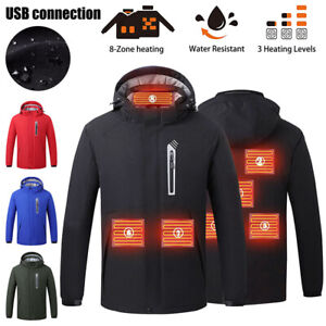USB Electric Heating Coat Hooded Jacket Heated Outwear Washable Winter Warmer