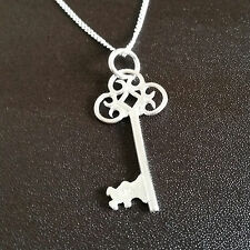 925 Sterling Silver Necklace chain with key pendant gift uk