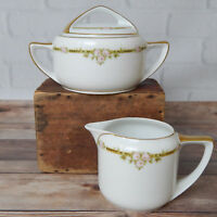 Vintage Puls China Lidded Sugar Bowl & Creamer Set Gold Tone Trim Floral