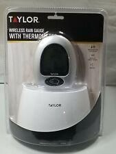 Taylor Wireless Rain Gauge Indoor Outdoor Temperature Rainfall Clock with Alarm