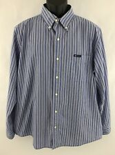 Chaps Mens Shirt XL Blue White Striped EasyCare Long Sleeve Dress Casual #T29