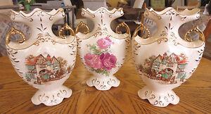 Antique Vintage Royal Fenton Fentonware Staffordshire Rose Brown Floral Vase Lot