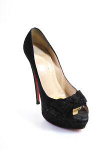 Christian Louboutin Womens Suede Peep Toe Bow Stiletto Pumps Black Size 39 9