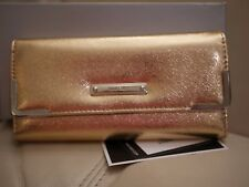 NEW WT WOMENS NINE WEST ROSE GOLD LEATHER LIKE CHECKBOOK PEN WALLET CREDIT CARD