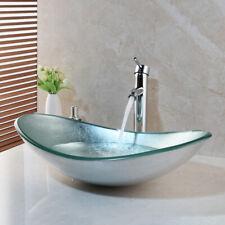 Us Bathroom Silver Oval Glass Vanity Basin Bowl Vessel Sink Mixer Chrome Faucet