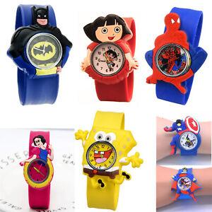 Kids Children Boys Girls Colour Digital LED Wrist Watch Super Hero Watches UK