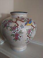 """VTG Belgium Art Pottery Signed """"A. DUBOIS"""" Vase W/Bird & Flowers 9"""""""