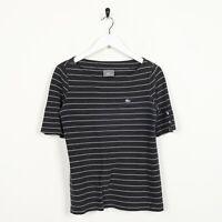 Vintage Women's LACOSTE Small Logo Striped T Shirt Tee Black   Medium M
