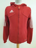 P190 MENS ADIDAS CLIMALITE RED WHITE STRIPES TRACKSUIT JACKET HOODIE UK XS EU 44