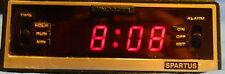 Vintage Spartus Comet II LED Alarm Clock Solid State Wood Grain 1122