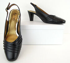 Soft Style Hush Puppies Black Faux Leather Slingback Heels Pumps 7 Narrow (S124)