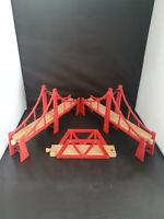 Official BRIO Bridge fits Wooden Train Track Set Red/Brown,  Thomas ELC etc