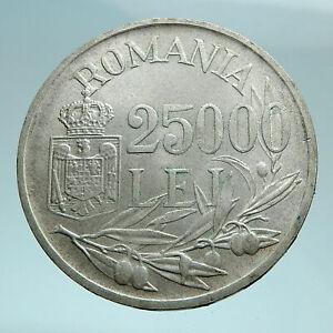 1946 ROMANIA King Michael I Shield Genuine Silver 25000 Lei Romanian Coin i79462