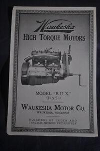 Ca 1920 Waukesha High Torque Motors Model BUX (3 3/4 x 5 1/4) Brochure
