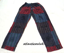T582 M Multi patched  cotton printed unisex homemade Washed stripe Trouser Nepal