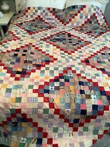 "Vintage Antique Patchwork Quilt Top Boho Bohemian 1.5"" Squares ALL Hand Sewn"