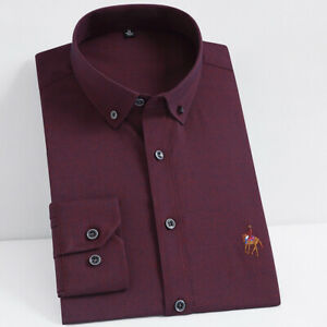 New Mens Dress Shirts Formal Slim Fit Long Sleeves Multicolor Casual Shirts Tops
