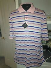 Nwt $89 Bobby Jones Pale Pink H20 Polyester Striped Knit Polo Shirt L Large