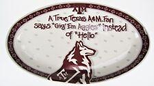 TX A&M Gig Em Aggies Ceramic Serving Dish Football Spirit Game Day Collie Dog