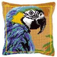 Blau Ara Papagei - groß Gelochte Gobelin Kissen Set/Bedruckt Grob Kreuzstich