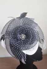 HANDMADE BLACK & WHITE SINAMAY FASCINATOR WITH FEATHERS AND SPARKLING CRYSTALS