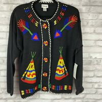 Victoria Jones Southwestern Indian Beaded Aztec Sweater Size M New With Tags