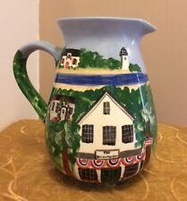 New listing Roseanne Henning Original Lge Ceramic Pitcher Historic Brewster Store Patriotic