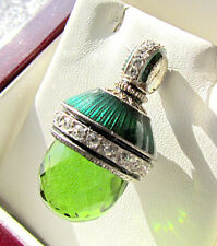 SALE ! SUPERB RUSSIAN EGG PENDANT HANDMADE OF STERLING SILVER 925 with PERIDOT