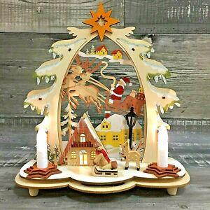 3D Schwibbogen Holz Weihnachtsdeko Lichterbogen Erzgebirge 28cm Tradition  NEU B