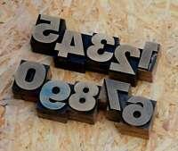 0-9 Zahlen 32mm Plakatlettern letterpress Letter Ziffern Stempel Zahl number alt
