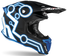 Motorcycle Helmet Cross Airoh Twist 2.0 Neon Blue Enduro Off Road Motard Helmet