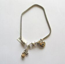 Brighton Golden Heart Anklet- silver & gold color-heart charm- love