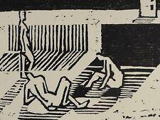 Monogrammist H.Sp o Sb - AKT - Holzschnitt 1957: NUDISTEN AM STRAND / WIESE -(?)