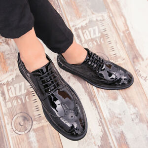 Mens Carved Dress Shoes Oxfords New Formal Shiny Leather Lace Up Wing Tip Brogue