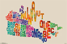 Super-Cool WORD CLOUD MAP OF CANADA Wall Poster by Michael Tompsett