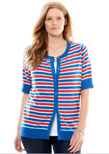 Women's 3X 30/32 Fit 4X Red White Blue Striped Cardigan Sweater Bust 62 Lgth 30