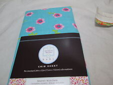 New Keneth Brown Sweet Stitches Floral Crib Sheet 28x52 ~ Pink, Blue, Green, Red