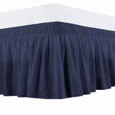 Queen 400Tc Sateen Solid Cotton Wrap Around Bed Skirt Navy Blue
