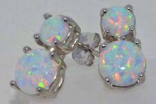 14Kt White Gold Opal Double Stud Earrings