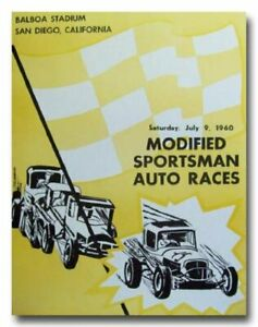 1960 Balboa Stadium Modified Sportsman Racing  vintage reproduction poster 60's