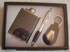 """MEN'S KEYRING, HIP FLASK & PEN GIFT SET"" 76214B GIFT BOXED"