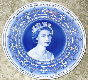 Wedgewood Plate celebrating the 50th Anniversary of the Coronation - boxed