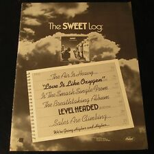The Sweet-Level Headed/Love Is Like Oxygyn-ORIG.1978 14.5x11  Ad/Poster!