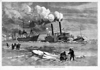 DELAWARE RIVER ICE-BLOCKADE NAUTICAL TUGBOAT BREAKING THE ICE NAVIGATION SHIPS