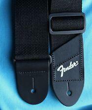 "Fender Economy 2"" Wide Black Polyweb Strap, Silver Foil Logo End, 0990606049"