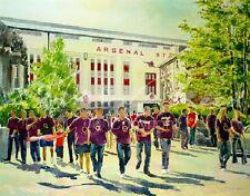 "Original Alan Reed Acuarela ""Highbury"" Recuerdos De Fútbol Arsenal FC Pintura"