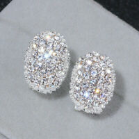 Sunshine Stud Earrings for Women 925 Silver White Sapphire Jewelry A Pair/set