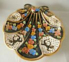 Vintage Capodimonte Black Pedestal Shell Dish Reticulated Animated Dancers