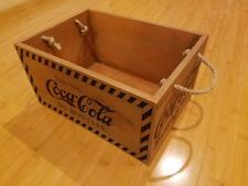 NEW DECOR DISPLAY COKE COCA COLA WOOD BOX  glass bottle holder soda pop rope