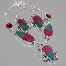 F9965  Morrisonite, Garnet & 925 Silver Overlay Necklace Earrings Set  Jewelry